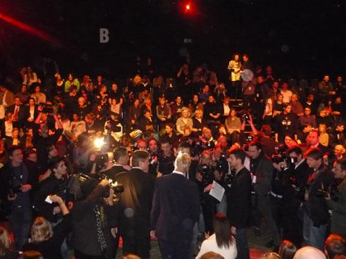 Crowded Boris Becker. Fashion Week Berlin.