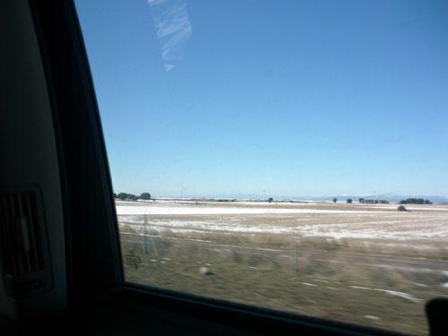 Madrid - Zaragoza. Nevada. Desde asiento posterior.