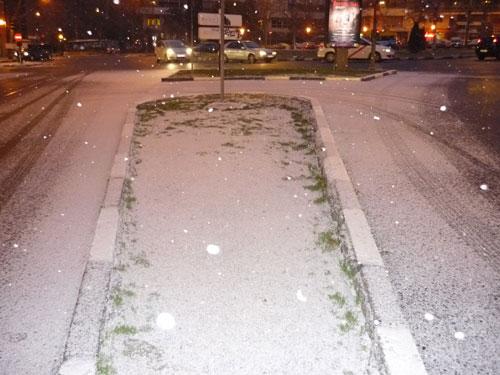 Nieve cuajada. Plaza Mariano de Cavia, Madrid.
