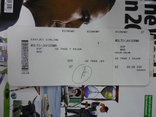 Tarjeta de embarque. EZY 7822. 03-01-2009.