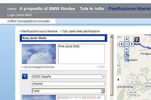 BMW Z4. Navegador. Nombre de la ruta.