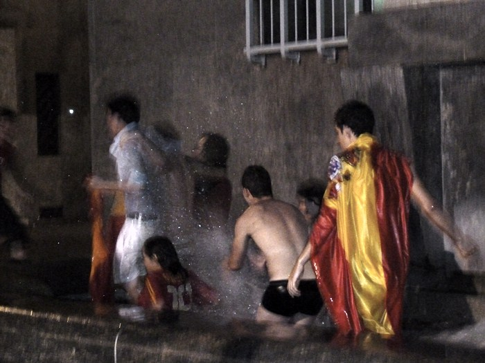 Plaza CLN. Turín. Celebracion Victoria selección española de fútbol.