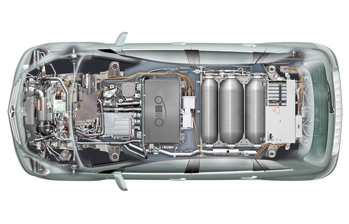 Mercedes-Benz Clase B F-Cell. Radiografía en planta