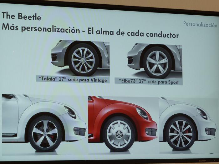 Llantas de serie y opcionales. Volkswagen Beetle. 2012.