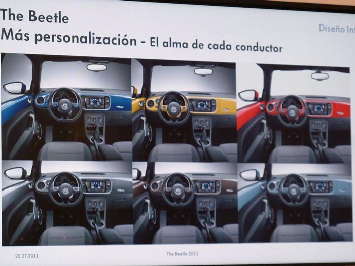 Colores del salpicadero. Volkswagen Beetle 2012
