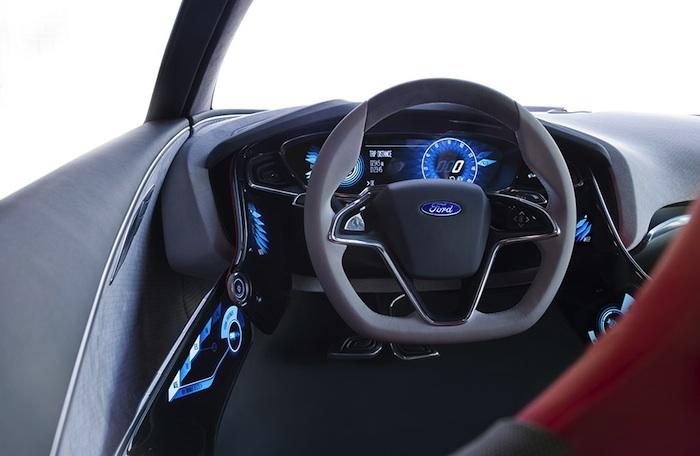 Ford EVOS Concept. volante, cuadro de mandos y pedales