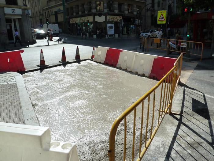Adoquines. Madrid. Calle de Tintoreros en obras
