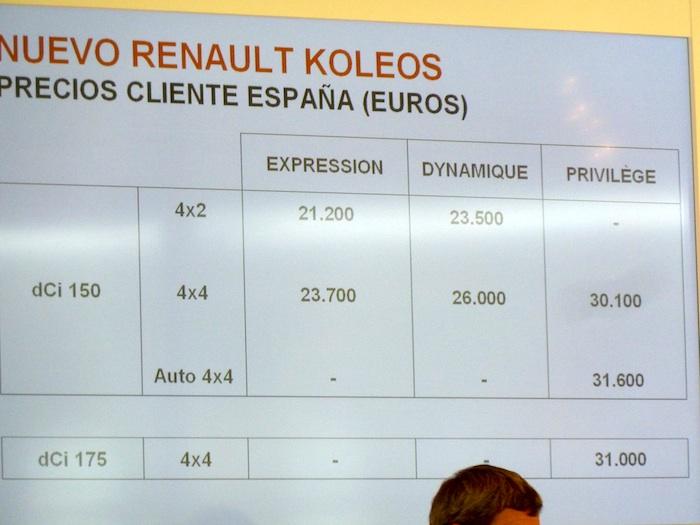 Renault Koleos. En venta desde 21 200 Euros