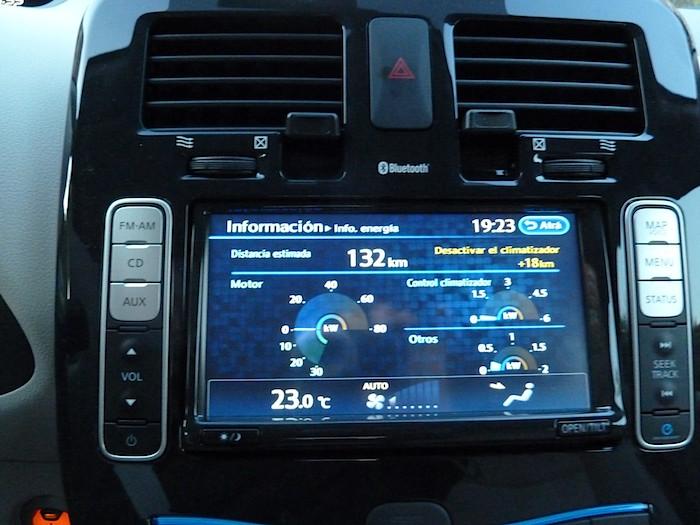 Nissan Leaf. En modo ECO. Con Climatizador