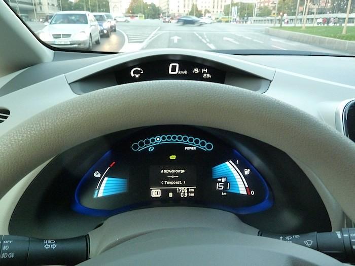 Nissan Leaf. En modo ECO. Cuadro instrumentos. Temperatura exterior