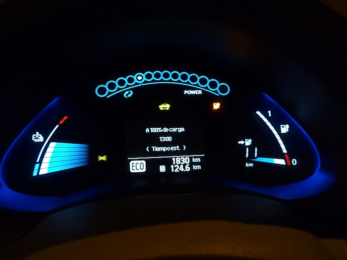 Nissan Leaf. En modo ECO. Recorrido 125 km.