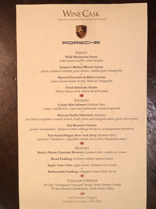 Menu. Wine Cask. Santa Barbara. California. Chef: Brandon Hughes