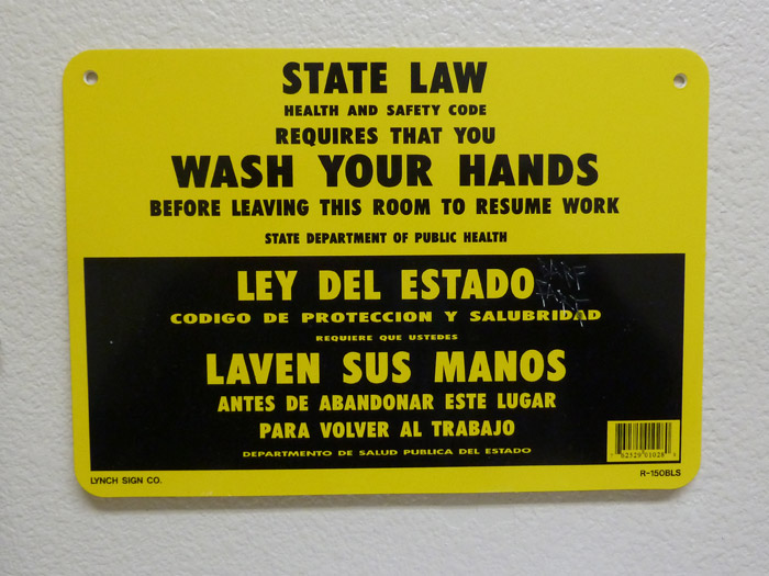 Ley del Estado de California. Cartel. Aseo