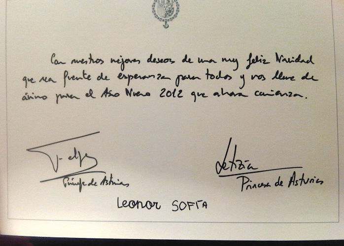 Felicitación navideña de los príncipes de Asturias y su familia