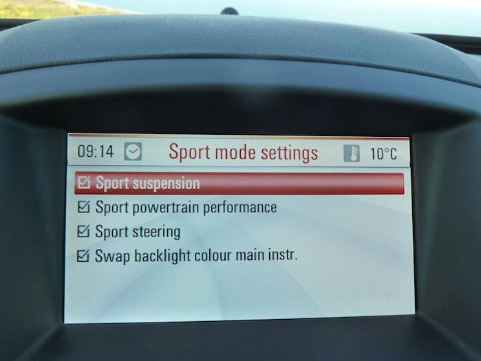 Opel Insignia. Regulaciones con el botón sport