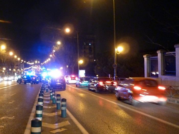 Madrid. Accidente de un coche de la Policía Nacional. Ronda de Toledo