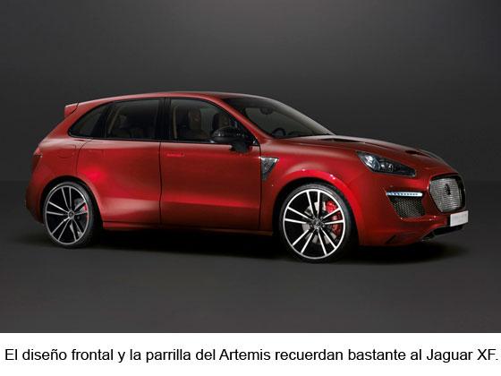 El diseño frontal y la parrilla del Artemis recuerdan bastante al Jaguar XF.
