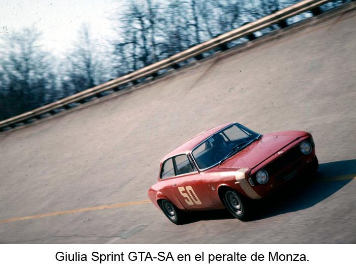 Giulia Sprint GTA-SA en el peralte de Monza