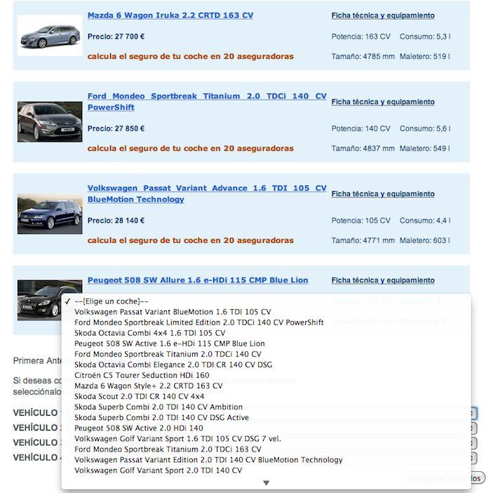 km77.com. Comparador de coches. Listado y seleccion