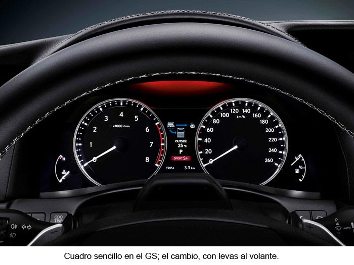 Lexus GS 450h. Cuadro de instrumentación. Levas volante