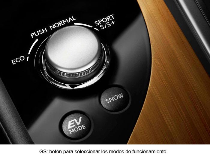 Lexus GS 450h. Mando para seleccionar los modos de funcionamiento