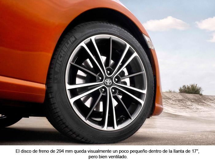 """Toyota GT 86. Disco de freno de 294 mm. Llanta de 17"""""""