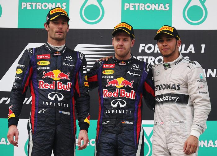 Fórmula 1. Podium con Webber, Vettel y Hamilton