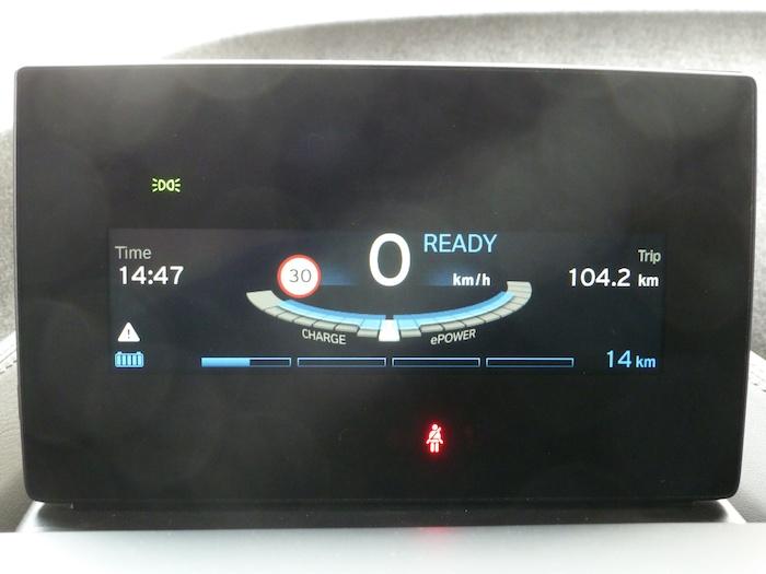 BMW i3. Autonomía después de 104 km recorridos