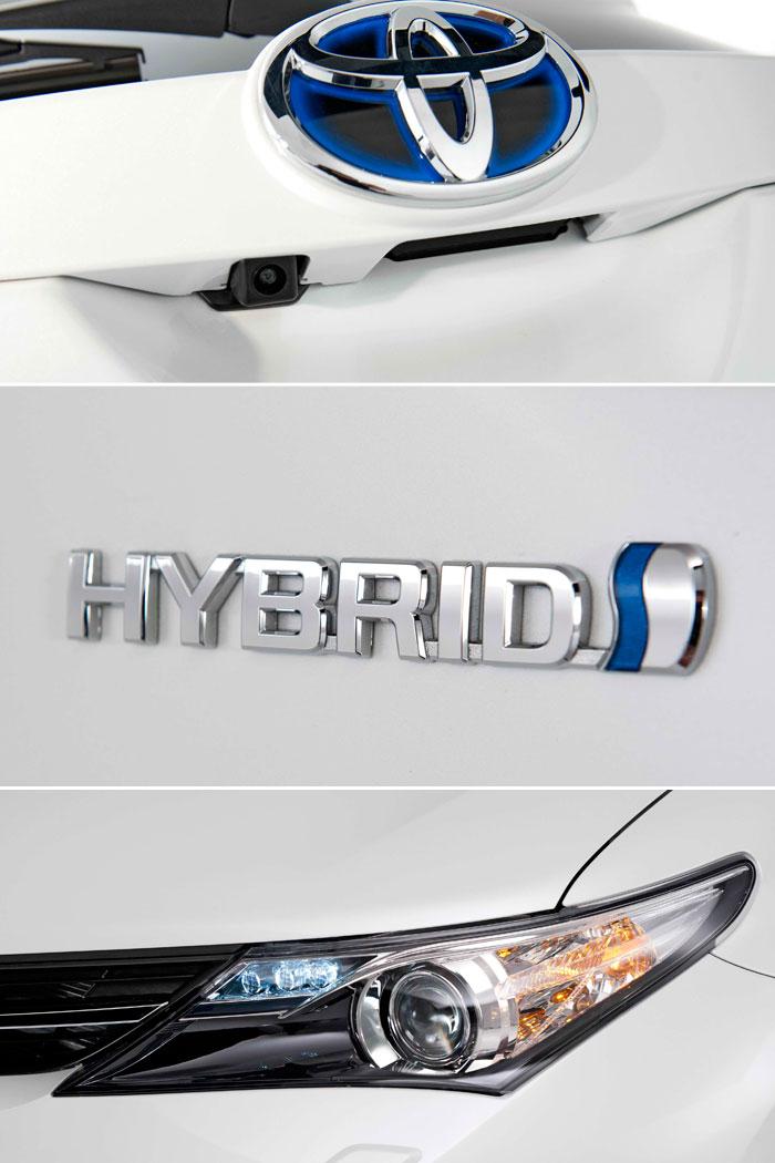 Toyota Auris HSD híbrido. Prueba de consumo. Anagrama, insignia, faro.