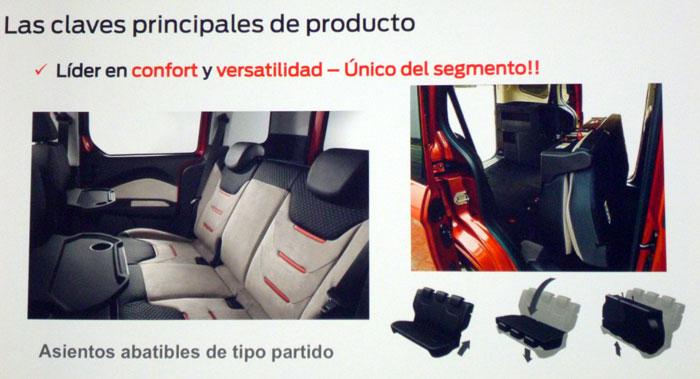 Ford tourneo Courier 2014. Rueda de prensa. configuraciçón de los asientos traseros