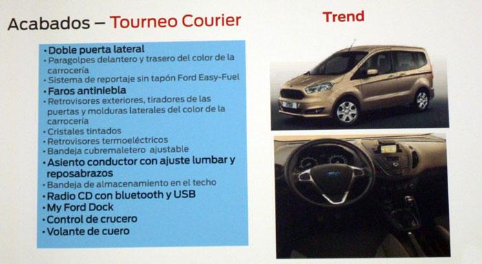 Ford tourneo Courier 2014. Rueda de prensa. Equipamiento Trend