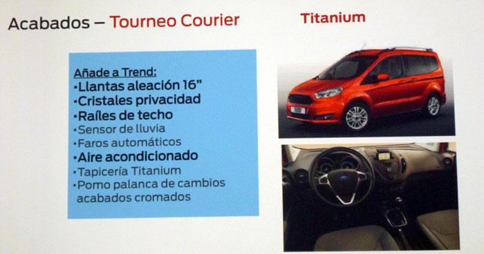 Ford tourneo Courier 2014. Rueda de prensa. Equipamiento Titanium
