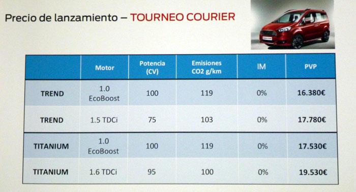 Ford tourneo Courier 2014. Rueda de prensa. Precio de lanzamiento