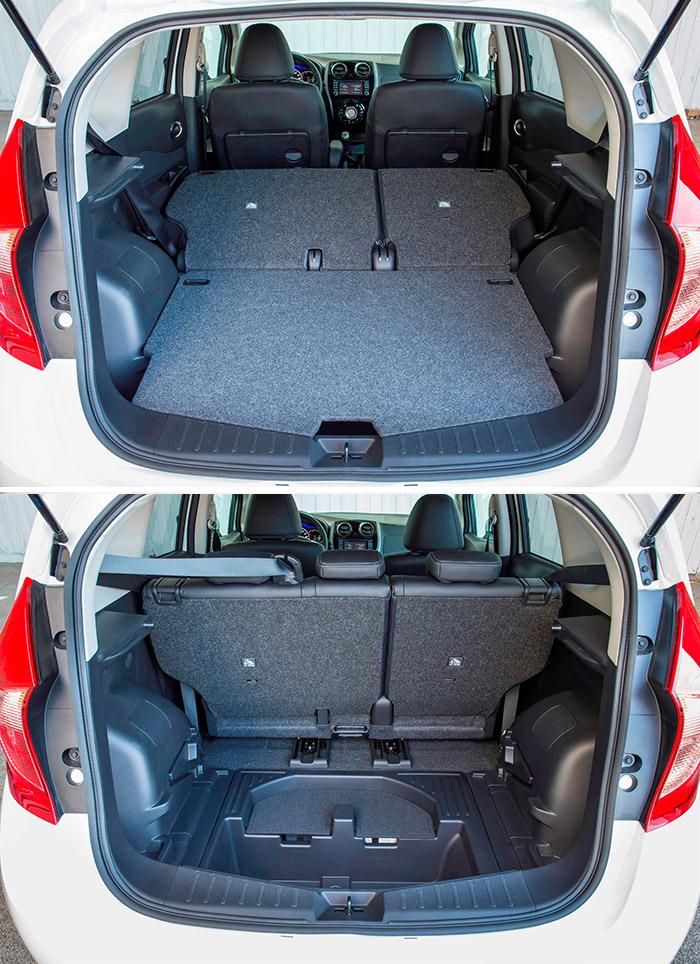 El maletero del Note tiene un doble apoyo donde situar a diferentes alturas la plancha móvil del piso, y luego hay además un doble fondo móvil con dos huecos, abierto y con tapa.