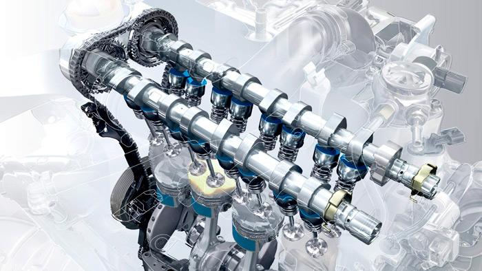 La distribución lleva cadena de bajo rozamiento y taqués de vaso pulidos a brillo de diamante; en cuanto a los pistones, las faldillas van recubiertas con bisulfuro de molibdeno (detalles en azul).