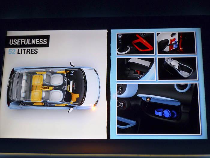 Renault Twingo 2015. Zonas de almacenaje.