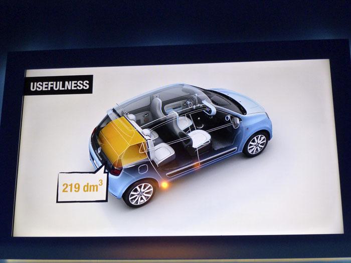 Renault Twingo 2015. Respaldos en vertical.