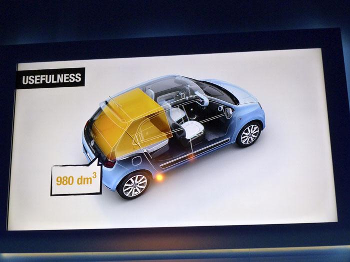 Renault Twingo 2015. Respaldos plegados