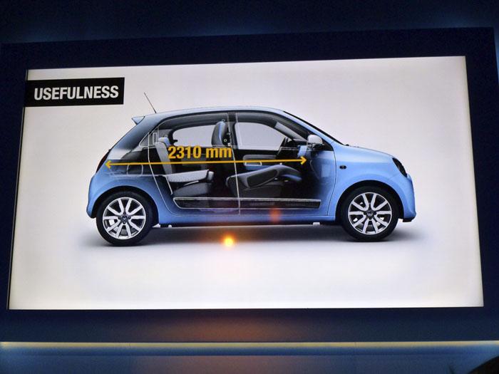 Renault Twingo 2015. Longitud de carga