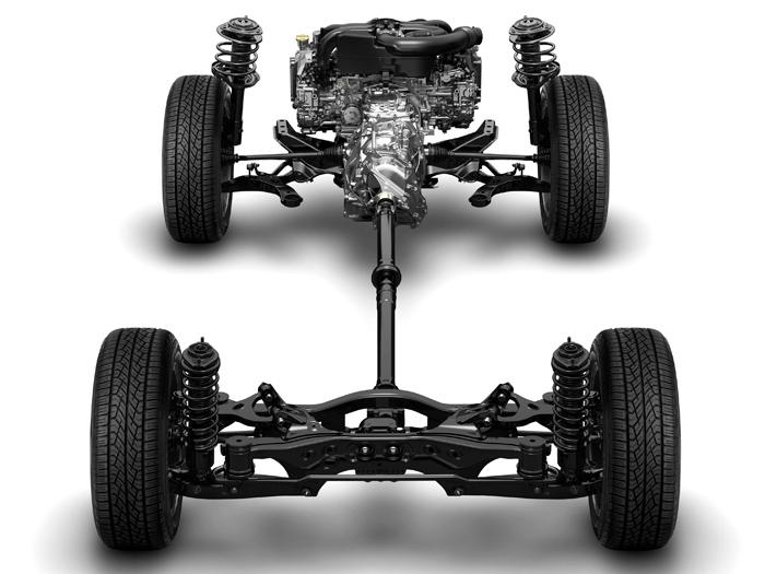 A Subaru le gusta presumir, y con razón, de su estructura: motor delantero boxer muy plano y corto, con cigüeñal longitudinal, que no precisa de reenvíos en ángulo para enviar la propulsión al tren posterior, que como el de su rival en esta prueba, es de suspensión multibrazo.