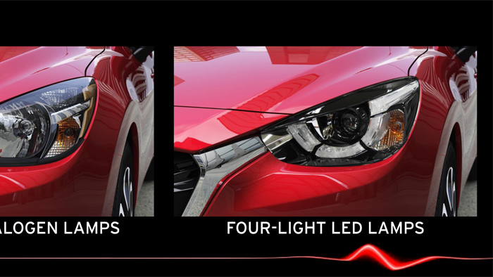 Mazda2. Diseño. Design. Four light Led
