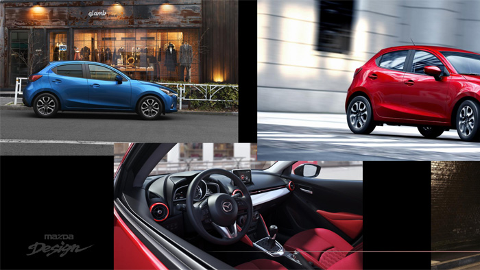 Mazda2. Interior design. coordination interior-exterior
