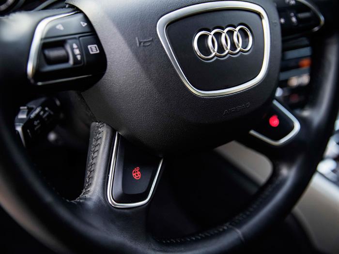 En el volante, dos botones rojos: parece que el izquierdo sea para conectar la conducción autónoma, y el derecho para anularla.