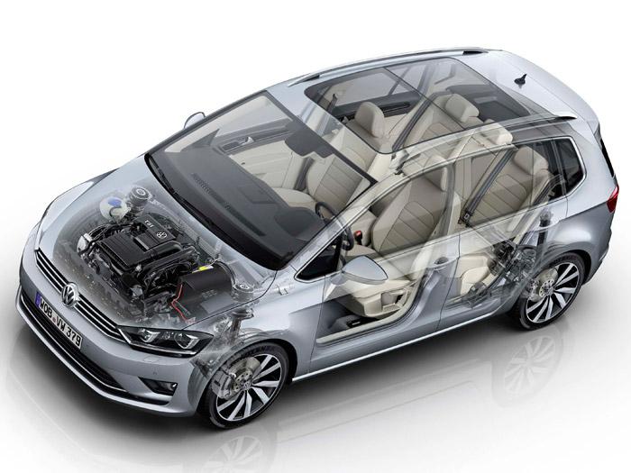Radiografía de un Sportsvan (aquí con un motor TSI), sobre la reciente plataforma MQB, común a diversos modelos de todas las marcas del grupo VAG.