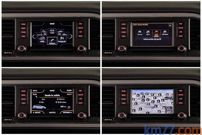 Cuatro de las múltiples posibles presentaciones de la pantalla central. Varias de estas informaciones también pueden aparecer en la pequeña pantalla de la instrumentación, entre cuentarrevoluciones y velocímetro.