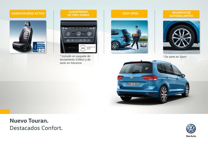 Volkswagen Touran. Equipamiento de confort.