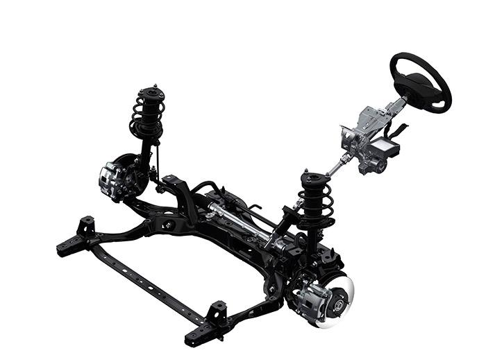 Tren delantero, con su cuna o subchasis para soportar el conjunto mecánico motor/cambio.