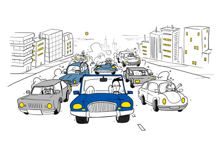 Estudio GoodYear/LSE: Ahí van nuestros siete personajes, rodeando al pobre muchacho del coche azul, que se lleva todas las broncas.