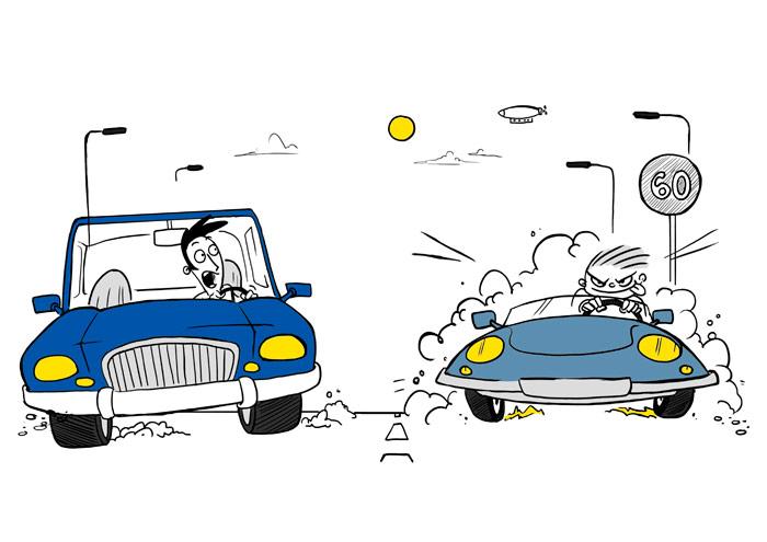 El Competitivo: a bordo de su viejo Lotus Elan (rueda estrecha) le pega una pasada en vuelo rasante al chico del coche azul. Menos mal que ya está saliendo de la limitación de 60 y hay línea discontinua.