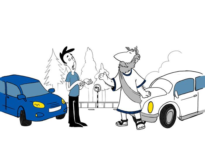 """El Filósofo: menuda charla que le está colocando, tras haberse bajado de su VW Old Beetle (con ruedas estrechas) al muchacho del ¿VW Polo? azul (con ruedas """"gordas""""). Lo de las ruedas, ¿será producto del subconsciente de dibujante?"""